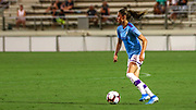 Manchester City midfielder Carolina Weir (19) brings the ball upfield in a game against the North Carolina Courage during an International Champions Cup women's soccer game, Thurday, Aug. 15, 2019, in Cary, NC. The North Carolina Courage defeated Manchester City Women 2-1.  (Brian Villanueva/Image of Sport)