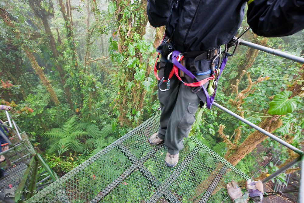 Looking down from a zip line platform to the jungle floor below in the Monteverde Cloud Forest Reserve in Selvatura Adventure Park, Costa Rica