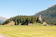 San Gian church with its ruined bell tower, Celerina, Maloja Region, Graubünden, Switzerland