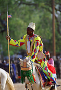 Man riding a decorated horse at a Durbar, in Maidugari Nigeria, Africa