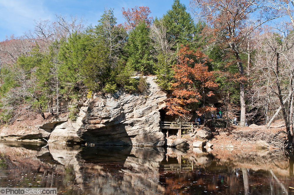 Sugar Creek, Turkey Run State Park, in historic Parke County, Indiana, USA: Rocky Hollow Falls Canyon Nature Preserve is a National Park Service Registered Natural Landmark. The Mansfield sandstone bedrock was formed during the Carboniferous Period when sand layers at the mouth of ancient Michigan River was compacted and cemented into solid rock. Ancient swamps became coal seams which were mined in the late 1800s and early 1900s. Glacial meltwater erosion in the Pleistocene Epoch carved today's canyons and potholes.