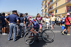 Nikola Noskova recovers after Stage 10 of the Giro Rosa - a 124 km road race, starting and finishing in Torre Del Greco on July 9, 2017, in Naples, Italy. (Photo by Sean Robinson/Velofocus.com)