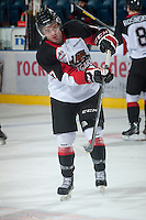 KELOWNA, CANADA - NOVEMBER 3:  Caleb Belter #17 of the  Prince George Cougars warms up on the ice at the Kelowna Rockets on November 3, 2012 at Prospera Place in Kelowna, British Columbia, Canada (Photo by Marissa Baecker/Shoot the Breeze) *** Local Caption ***