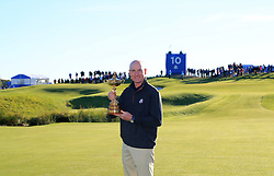 Team USA captain Jum Furyk with the Ryder Cup trophy during preview day three of the Ryder Cup at Le Golf National, Saint-Quentin-en-Yvelines, Paris.