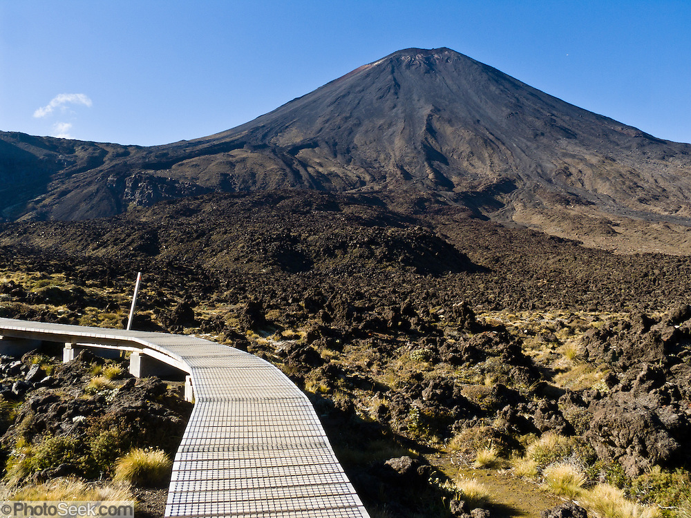 Mount Ngauruhoe (2291 metres or 7516 feet elevation) last erupted in 1975 in Tongariro National Park, North Island, New Zealand. In 1990 and 1993, UNESCO honored Tongariro National Park as a World Heritage Area and Cultural Landscape.