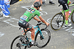 July 25, 2018 - Saint-Lary-Soulan, FRANCE - Slovak Peter Sagan of Bora-Hansgrohe wearing the green jersey of the points leader, with ripped shirt and shorts and injured bloody leg, after a fall during the 17th stage of the 105th edition of the Tour de France cycling race, from Bagneres-de-Luchon to Saint-Lary-Soulan (65 km), France, Wednesday 25 July 2018. This year's Tour de France takes place from July 7th to July 29th. BELGA PHOTO DAVID STOCKMAN (Credit Image: © David Stockman/Belga via ZUMA Press)