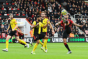 Callum Wilson (13) of AFC Bournemouth tries to control a high ball in the box during the Premier League match between Bournemouth and Watford at the Vitality Stadium, Bournemouth, England on 12 January 2020.