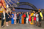 Wednesday 5 August - Captain's Call at the Luna Park Welcome Function of Netball World Cup 2015 SYDNEY. <br /> Captain's Call at the Luna Park Welcome Function. L-R NZL Casey Kopua, AUS Laura Geitz, ENG Geva Mentor, SAM Juliana Naoupu-Laban, SCO Hayley Mulheron, WAL Suzy Drane, FIJ Mere Rabuka Neiliko, SRI Semini Alwis, ZAM Annie Mukamba, RSA Maryka Holtzhausen,<br /> Photo: Narelle Spangher (NWC2015 Media)<br /> For editorial news use only