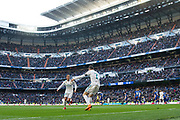 Real Madrid's Portuguese forward Cristiano Ronaldo celebrates after scoring his second goal with Lucas Vazquez during the Spanish championship Liga football match between Real Madrid and Alaves on february 24, 2018 at Santiago Bernabeu Stadium in Madrid, Spain - Photo Rudy / Spain ProSportsImages / DPPI / ProSportsImages / DPPI