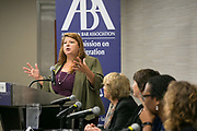 """This is a session titled """"Families on the Precipice: Navigating the Separation, Detention, and Reunification of Families at the U.S. Border""""  at the 2018 American Bar Association Annual Meeting.  Panelists Left to right: Anne Chandler, Kimi Jackson, Uzoamaka Emeka Nzelibe and Maria Woltjen. Introducing the panelists is Angela C. Vigil. photos by Kathy Anderson"""