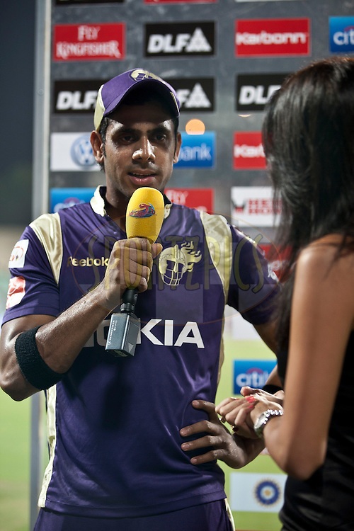 KKR Player Manoj at a short interview during match 6 of the Indian Premier League ( IPL ) between the Kolkata Knight Riders and the Deccan Chargers held at Eden Gardens Cricket Stadium in Kolkata, India on the 11th April 2011..Photo by Saikat Das/BCCI/SPORTZPICS