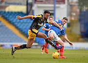 Portsmouth striker Conor Chaplin and Cambridge United Defender Leon Legge during the Sky Bet League 2 match between Portsmouth and Cambridge United at Fratton Park, Portsmouth, England on 27 February 2016. Photo by Adam Rivers.