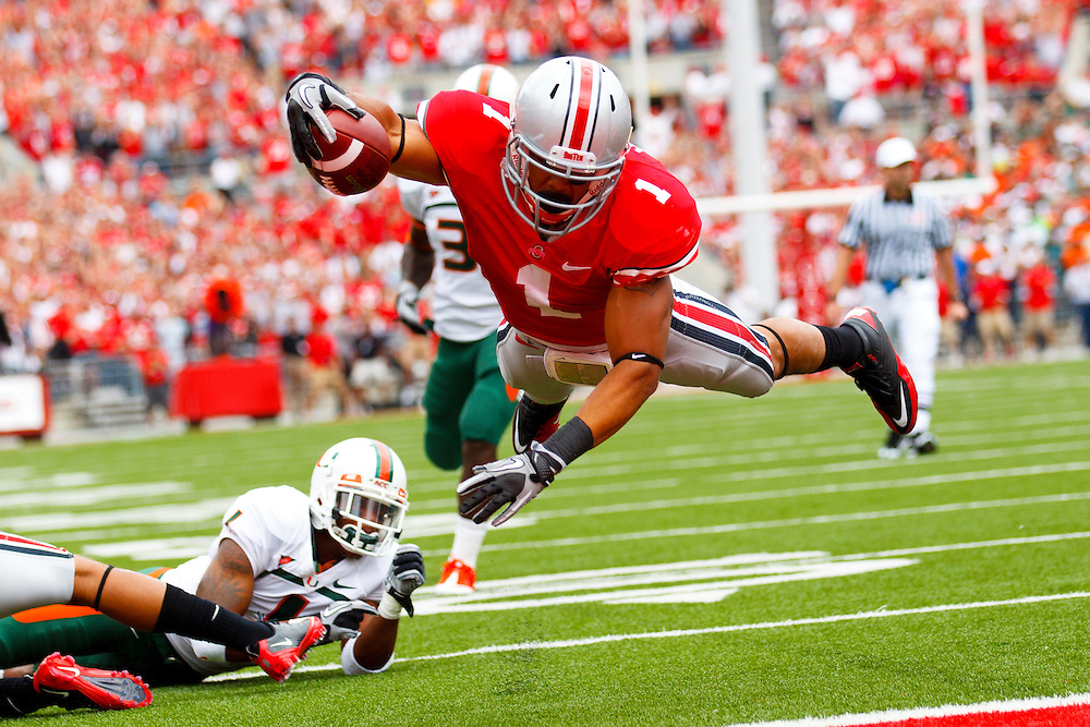 September 11, 2010:  Ohio State Buckeyes running back Dan Herron (1) dives over the goal line in a for a touchdown that was called back for a penality during the NCAA football game between the Miami Hurricanes and Ohio State Buckeyes at  Ohio Stadium in Columbus, Ohio.