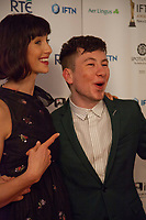 Barry Keoghan, awarded Best Supporting Actor for the film The Killing of a Sacred Deer with Caitriona Balfe, awarded Best Actress winner for Outlander at the IFTA Film & Drama Awards (The Irish Film & Television Academy) at the Mansion House in Dublin, Ireland, Thursday 15th February 2018. Photographer: Doreen Kennedy