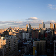 New York Skyline panoramic photograph. Sunset and shadows.