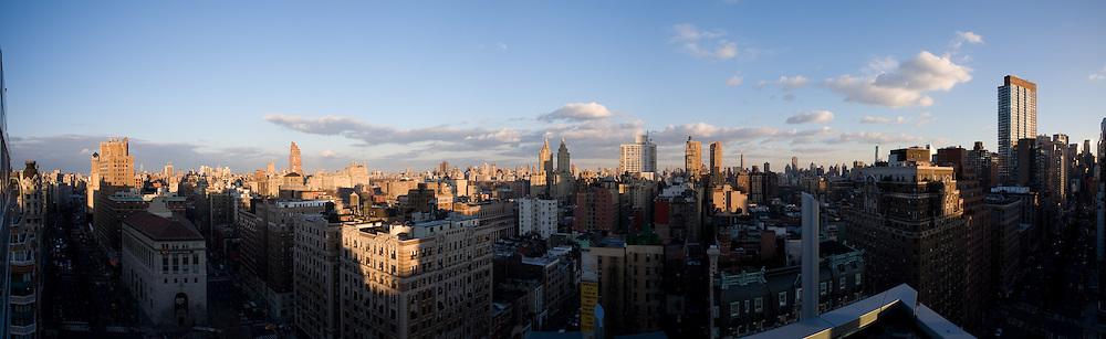 New York Skyline panoramic photograph. Sunset and shadows.