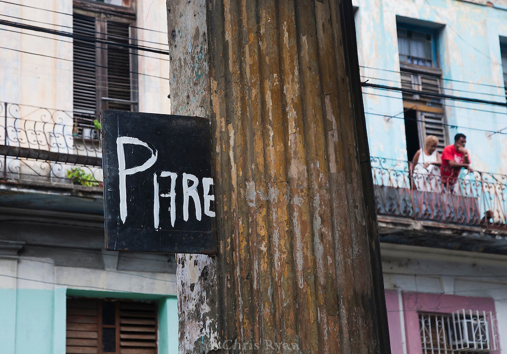 Homemade stop sign, Havana, Cuba