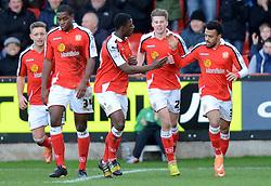 Crewe's Nicky Ajose celebrates scoring - Photo mandatory by-line: Richard Martin-Roberts - Mobile: 07966 386802 - 10/01/2015 - SPORT - Football - Crewe - Alexandra Stadium - Crewe Alexandra v Gillingham - Sky Bet League One
