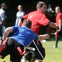 Port City Flag Football held matches at Castle Hayne Park Sunday October 5, 2014. (Jason A. Frizzelle(