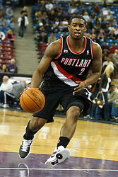 January 19, 2011; Sacramento, CA, USA;  Portland Trail Blazers guard Wesley Matthews (2) dribbles up court against the Sacramento Kings during the first quarter at the ARCO Arena. Portland defeated Sacramento 94-90 in overtime.