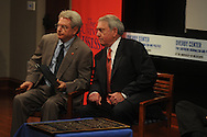University of Mississppi Chancellor Dan Jones (left) visits with former CBS News anchor Dan Rather during Journalism Week at the University of Mississippi on Wednesday, April 13, 2010. Rather recounted covering the riots at Ole Miss in 1962.