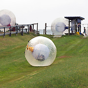 Participants ride down the hill inside a Zorb. The sport of Zorb globe riding was invented in New Zealand and globes are designed, manufactured and tested there, The Zorb globe is an 11 foot high inflatable transparent sphere which you can ride inside. Two feet of air protect you from the ground enabling you to globe ride down hills at high.  Agrodome, Western Rd. Ngongotahaha.  Rotorua, New Zealand,, 11th December 2010 Photo Tim Clayton