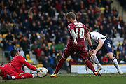 Millwall FC goalkeeper Jordan Archer (13)  saves from Bradford City forward Billy Clarke (10)  during the Sky Bet League 1 match between Bradford City and Millwall at the Coral Windows Stadium, Bradford, England on 26 March 2016. Photo by Simon Davies.