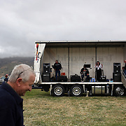 The band plays during the Roxburgh Trotting Club Summer Festival Races, Roxburgh, Otago, New Zealand. 5th January 2012