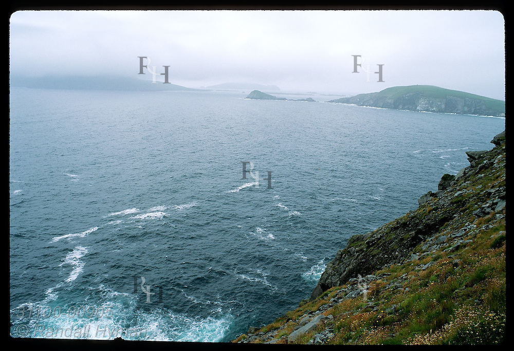 Fog and rain lash Blasket Islands, Europe's most westerly point; Dingle Peninsula. Ireland