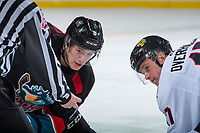 KELOWNA, CANADA - OCTOBER 20: Jack Cowell #8 of the Kelowna Rockets faces off against Alex Overhardt #17 of the Portland Winterhawks  on October 20, 2017 at Prospera Place in Kelowna, British Columbia, Canada.  (Photo by Marissa Baecker/Shoot the Breeze)  *** Local Caption ***