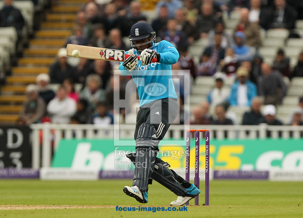 Chris Jordan of England plays a shot during the Royal London One Day Series match at Edgbaston, Birmingham<br /> Picture by Tom Smith/Focus Images Ltd 07545141164<br /> 03/06/2014