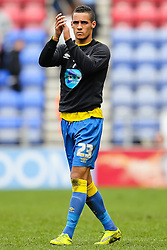 Tom Ince of Derby County applauds the fans - Photo mandatory by-line: Matt McNulty/JMP - Mobile: 07966 386802 - 06/04/2015 - SPORT - Football - Wigan - DW Stadium - Wigan Athletic v Derby County - SkyBet Championship