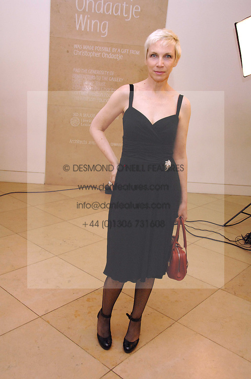 Singer ANNIE LENNOX at a private view of Bryan Adam's photographs entitled 'Modern Muses' held at The National Portrait Gallery, London on 11th March 2008.<br />