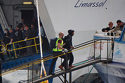A Refugee, escorted by the European border control agency Frontex personnel, boards a vessel at Mytilene port in Greece, on April 8, 2016. A total of 124 refugees and migrants were returned to Turkey from Greek islands on Friday, the second of such mission in a week under the EU-Turkey deal to cope with the refugee crisis. EXPA Pictures © 2016, PhotoCredit: EXPA/ Photoshot/ Anthi Pazianou<br /> <br /> *****ATTENTION - for AUT, SLO, CRO, SRB, BIH, MAZ, SUI only*****