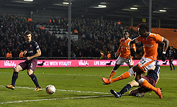 Blackpool's Armand Gnanduillet (right) has a shot on goal but misses during the Emirates FA Cup, third round match at Bloomfield Road, Blackpool.