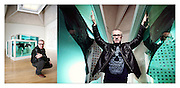 Damien Hirst with his work at the TATE gallery, London