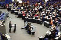 14 APR 2005, BERLIN/GERMANY:<br /> Gerhard Schroeder, SPD, Bundeskanzler, waehrend seiner Rede, Bundestagsdebatte zur Aufhebung des EU-Waffenembargos gegenueber China, Plenum, Deutscher Bundestag<br /> IMAGE: 20050414-01-052<br /> KEYWORDS: Sitzung, Rede, speech, Gerhard Schröder, SPD fraktion, Übersicht, Uebersicht