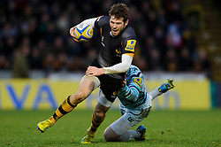Wasps Outside Centre (#13) Elliot Daly is tackled by Leicester Outside Centre (#13) Matt Smith during the second half of the match - Photo mandatory by-line: Rogan Thomson/JMP - Tel: Mobile: 07966 386802 25/11/2012 - SPORT - RUGBY - Adams Park - High Wycombe. London Wasps v Leicester Tigers - Aviva Premiership.