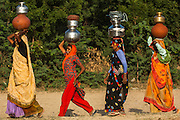Hindu Women collecting water from a well in a village near Bharatpur. Rajasthan. INDIA<br /> Many villages still do not have piped water and at least one member of the family spends their entire live meeting the water needs of the rest of the family.