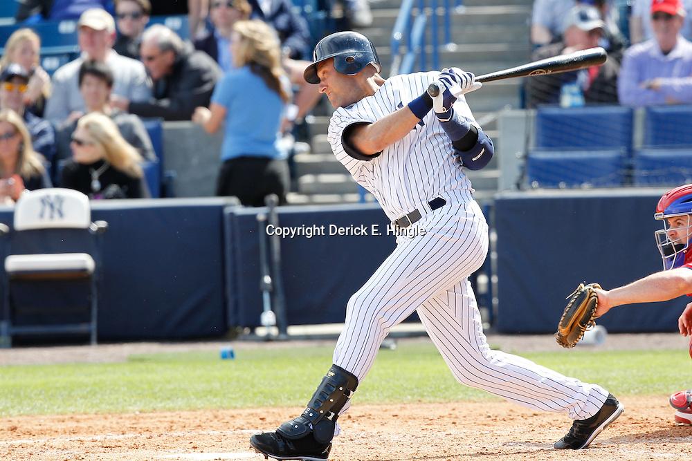 March 4, 2012; Tampa Bay, FL, USA; New York Yankees shortstop Derek Jeter (2) against the Philadelphia Phillies during spring training game at George M. Steinbrenner Field. Mandatory Credit: Derick E. Hingle-US PRESSWIRE