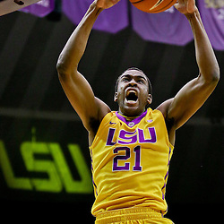 Feb 13, 2016; Baton Rouge, LA, USA; LSU Tigers forward Aaron Epps (21) dunks against the Texas A&M Aggies during the first half of a game at the Pete Maravich Assembly Center. Mandatory Credit: Derick E. Hingle-USA TODAY Sports