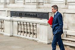 Gavin Williamson, Education Secretary leaves the Cabinet Office after meetings.<br /> <br /> Richard Hancox   EEm 12082019
