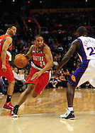 Dec. 10 2010; Phoenix, AZ, USA; Portland Trailblazers guard Andre Miller (24) handles the ball against Phoenix Suns guard Jason Richardson (23) during the first half at the US Airways Center. Mandatory Credit: Jennifer Stewart-US PRESSWIRE.