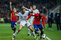 Macedonia's Darko Velkovski Spain's Alvaro Morata  during the match of European qualifying round between Spain and Macedonia at Nuevo Los Carmenes Stadium in Granada, Spain. November 12, 2016. (ALTERPHOTOS/Rodrigo Jimenez)