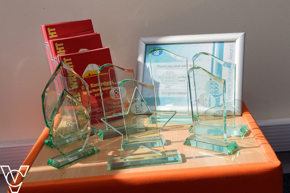 Lincolnshire Co-operative's Celebrating Success Evening winners.  Newark Travel branch were won Travel Branch of the Year.  Pictured are some of the awards won by the branch.<br /> <br /> Picture: Chris Vaughan Photography for Lincolnshire Co-op<br /> Date: May 2, 2017