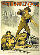 The Trumpet Calls: Australian World War I recruitment poster.  Bugler calling Australian men to join their compatriots already fighting. Norman Lindsay (1879-1969) Australian artist.  Machine Gun Rifle