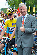 King Philippe of Belgium gives the start of the 4th stage of the Tour de France ( Seraing - Cambrai ) Seraing , July 7, 2015, Belgium<br /> Pics: Chris Froome and King Philippe