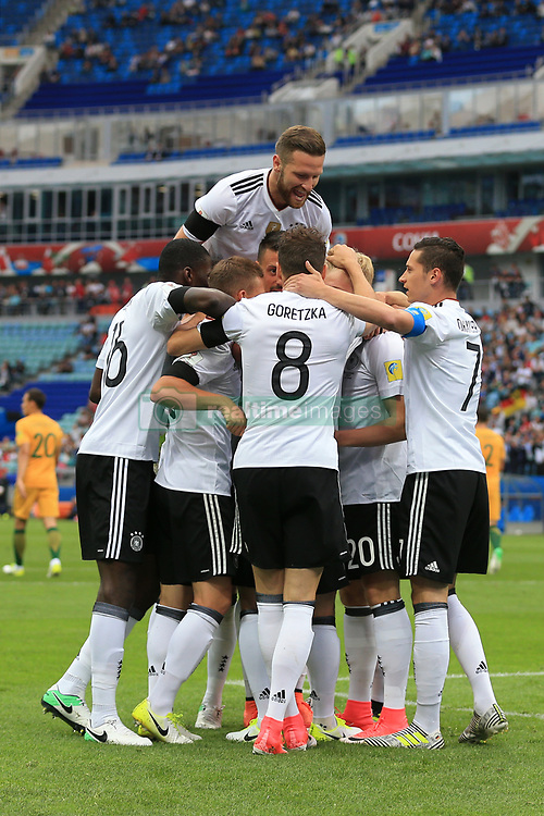 19th June 2017 - FIFA Confederations Cup (Group B) - Australia v Germany - Shkodran Mustafi of Germany jumps on top of his teammates as they celebrate their 1st goal - Photo: Simon Stacpoole / Offside.