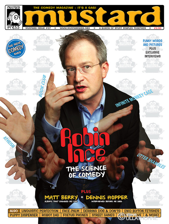 Robin Ince, front cover, Mustard Magazine