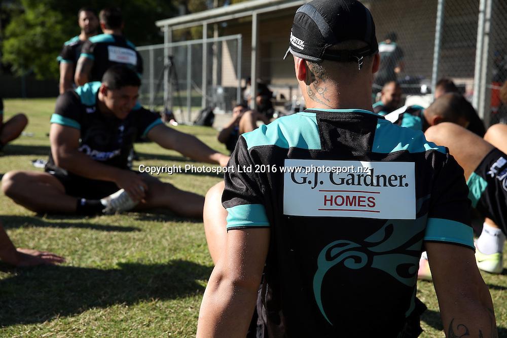 GJ Gardner Sponsor<br /> NZRL Training for the test match at Old Saleyards Reserve, North Parramatta Australia. Tuesday 3 May 2016. Photo: Paul Seiser/Photosport.nz